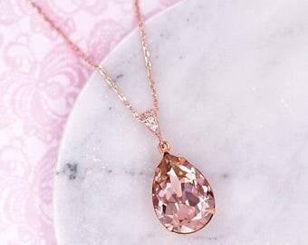 Vintage Rose Pink Rose Gold Wedding Bridal Swarovski Crystal Teardrop Necklace, Bridesmaid Earrings Wedding Brides, Jewelry Gift, Carrie