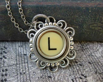 Antique Typewriter Key Necklace Initial L