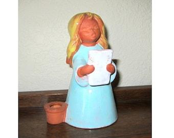 Goebel W. Germany Terra Cotta BLUE ANGEL Caroler Candle Holder Gra 268 DATED 1970