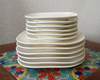 FRANCISCAN TIEMPO METROPOLITAN Bread and Butter Plates White Ivory Vintage Mid Century