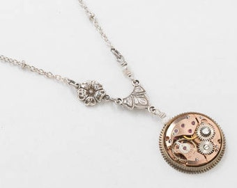 Steampunk Necklace, Vintage Rose Gold Watch set in Antique Gear with Genuine Pearl, Crystal & Flower Charm on Silver Beaded Chain