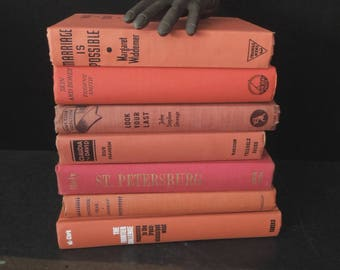 Books for Decor Dark Coral Melon - Vintage Instant Library Orange - Old Book Stack - Decorative Books