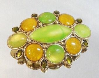 SUPER SALE Vintage Liz Claiborne Brooch. Green and Gold Marbled Cabochons.