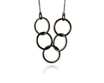 Linked Circles Necklace / Entwined Circles Necklace / Circles Necklace / Brass Circles Necklace