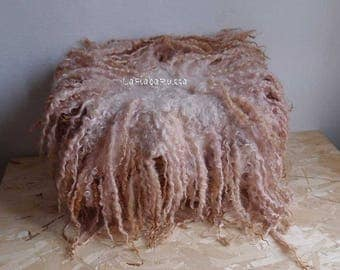XL newborn props old rose /soft brown shades curly flokati newborn felted rug, flat curly felt, basket filler, wool fluff,