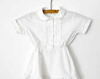 Vintage White Childs Dress • Summer Toddler T 3 Dress • Her Majesty White and Lace Dress