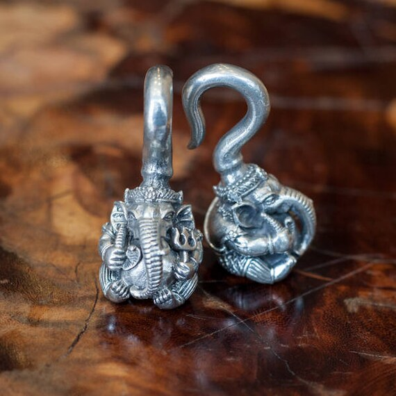 Decorative Ear Weights : Ganesh ear weights stretchers traditional white