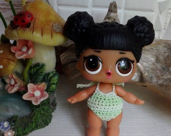 Crochet outfit 1 piece 3 inch LOL Little Lil Surprise Doll Swimsuit Shades of Pastel Green White