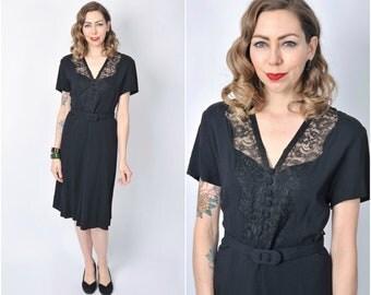Vintage 1940's Black Lace and Rayon Dress/ 40's Lace Illusion Bodice Dress Size Large