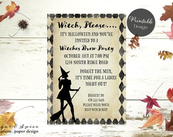 Adult Halloween Invitation Printable, Halloween Invitation, Halloween Party Invitation, Sexy Witch Party Invitation, Costume Birthday Party