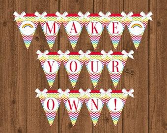 Rainbow Banner, Rainbow Birthday Party, Rainbow Birthday Banner, Rainbow Decorations, Instant Download