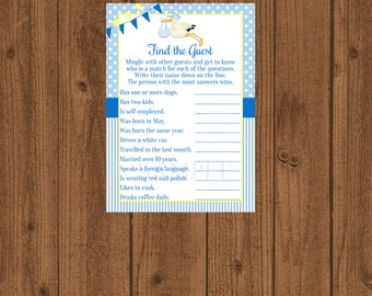 Stork Baby Shower, Stork Baby Shower Game, Stork Find the Guest Game, Find the Guest Game, Ice Breaker Game, Guess Who Game, Instant