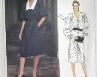 """Size 14. bust 36"""" 70's Vintage  Vogue American Designer Sewing Pattern 1140 by Givenchy Dress with Collar and Kimono Sleeve"""