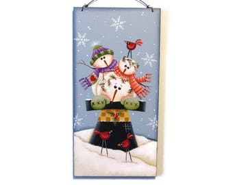 Hat Full of Snowmen Wall Hanging,  Handpainted Wood Sign, Hand Painted Winter Home Decor, Wall Art, Tole Decorative Painting