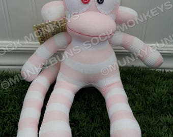 CLEARANCE - Light Pink and White Striped Sock Monkey Doll - optional Name Embroidered