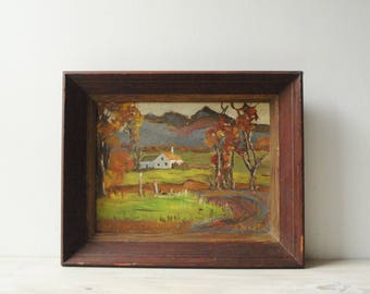 Vintage Landscape Painting of the French Country, Oil Painting, Framed Painting