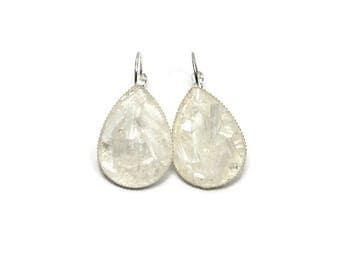 XL Crushed Selenite Teardrop Earrings Lever Back Silver Tone Earrings