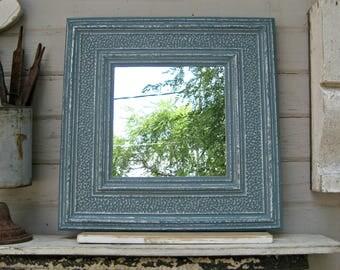 Tin Ceiling Tile Mirror, Antique architectural salvage, Blue wall mirror, Bathroom Bedroom Entryway Mirror, Metal tile mirror