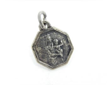 Vintage French Our Lady of the Guard Catholic Medal - Notre Dame de la Garde Religious Charm - Catholic Jewelry 043