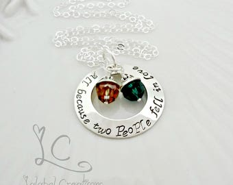 All Because Two People Fell in Love Necklace Personalized Birthstone Necklace, Personalized Necklace for Mom with Kids Name Necklace