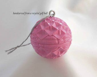 Pink Christmas Ornament, Golf Ball, Golf Gift for Golfer, Lady Golfer Gift