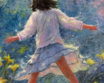 Little Girl Twirl ORIGINAL Painting 12x16, brunette girl, girls room,dancing, girl wall decor, girl in flowers, happy girl blue, Vickie Wade