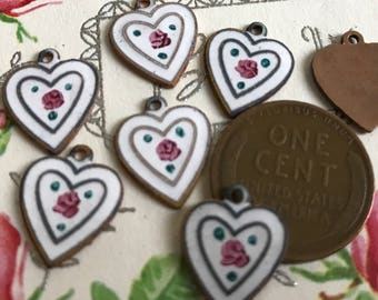 2 Vintage Guilloche Charms, Enameled Hearts,Love Charms,Arrow Charms,Valentines day heart charms,Love charms, Rose Charms,NOS G86B