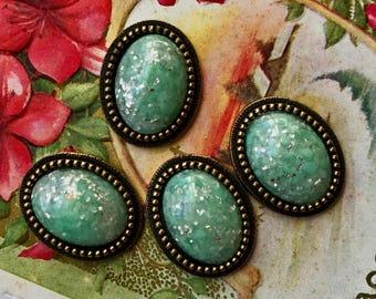 2 Vintage Glitter Cabochons, sparkle Cabochons,  Green fire foil , Vintage 18x13mm Cabochons, vintagerosefindings, antique brass ox  #586Z
