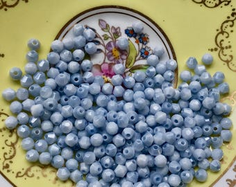 Vintage blue Bicone and round Beads, Glass beads, 5mm beads, Jewelry Making, shabby chic beads, vintage findings, powder blue beads #B140S