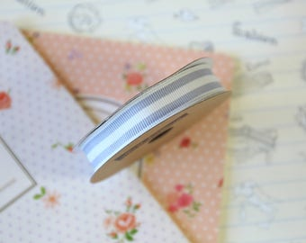 Grey & White Stripe Grosgrain ribbon