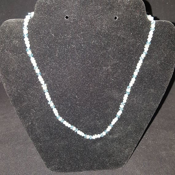 "Blue Swarovski and Silver Beaded Necklace - ""Blue Skies"""