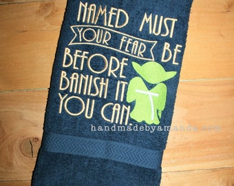 """Yoda towel """"Named must your fear be before banish it you can"""" - Great gift for Young Jedi or Star Wars fan - Jedi Yoda Towel"""