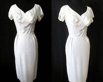 """luminous 1950's Hourglass Winter White Silk Cocktail Party Dress By """"Jean Originals of California"""" VLV Pinup Girl Size Medium"""