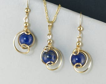 Lapis Lazuli Gemstone Gold Jewelry Set, Royal Blue Lapis Drop Pendant Chain Necklace and Earrings Set, Gold Wire Wrapped Lapis Jewelry Set