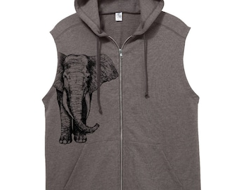 hoodie- crop sleeve - elephant -mens hoodie - typography - word hoodie -text hoodie - fleece - guys