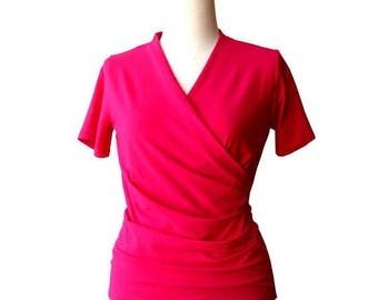 Wrap Top/Blouse/Shirt, Bright pink top, Plus size wrap top, Gift for her, Plus size summer wrap top, Short sleeve womens clothes, Wraptop