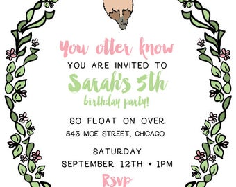 Sea Otter Printable Invite Only