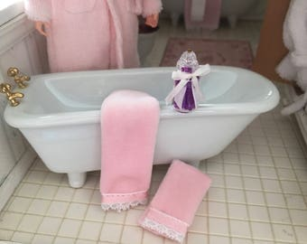 Miniature Bathtub Set Includes Mini Tub Towels And Bath Beads Jar Pick Blue