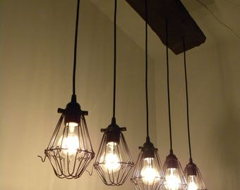 10 Edison LED Rustic Chandelier Pendant lights Reclaimed Wood