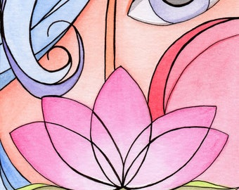 Lady With Lotus Limited Edition Giclee Print