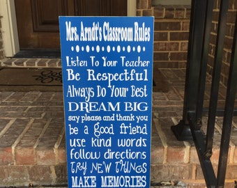Classroom Decor ~ Classroom Rules Sign ~ Teacher Classroom Decor ~ Teacher Gifts ~ Personalized Teacher Gift ~ Back To School ~ Class Gift