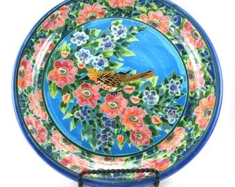 Blue Porcelain Platter - Large Floral Round Ceramic Handmade Dinner Table Place Setting Plate - Flower and Bird Design