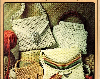 PURSE STRINGS Vintage 70s Macrame Booklet Patterns For 14 Different Retro Womens Handbags Purses Totes Bags by Liz Miller