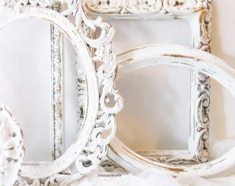 Rococo White Victorian Style Frames, Jane Eyre Romantic Collection of Frames. Painted Shabby White Frames.  6 frames. Vintage Romance