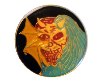 IRON MAIDEN Purgatory vintage enamel pin Eddie heavy metal thrash