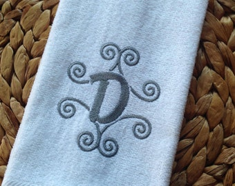 Monogram Swirls - Personalized (Choose Towel Color and Thread Color) - Fingertip Velour Bathroom Towel 11x18 - JD Designs