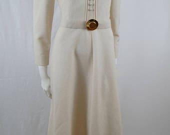 Vintage 60s 70s John J Hilton Designer Collection Edwardian Style Ivory and Gold Brocade Formal Evening Dress Gown Wedding Dress
