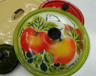 Enamelware Lid Fruit Green Red Orange White Vintage 9.25 Inch Pot Lid Only Graniteware