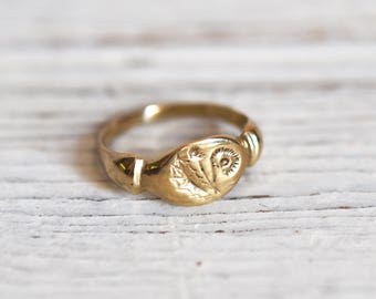 14K Gold Dandelion Botanical Ring, Botanical Jewelry, Nature Ring, Stacking Rings, Flower, Wedding Ring, Gift for her by Peg and Awl
