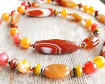 Lariat Necklace - Beaded Lariat Necklace - Orange Lariat Necklace - Y Necklace with Beads - Orange Beaded Necklace - Orange Necklace